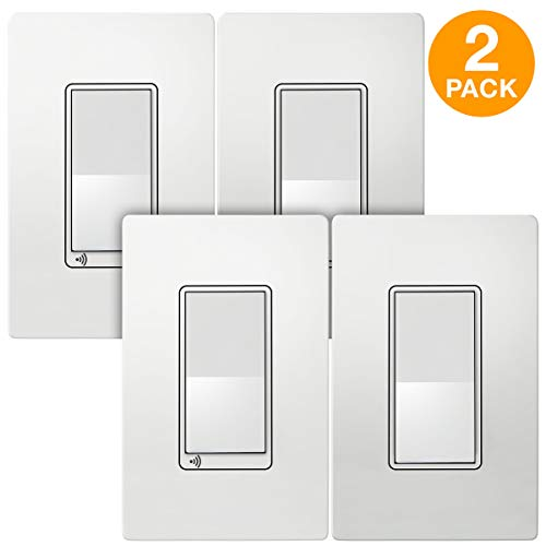 TOPGREENER Smart Wi-Fi Light Switch 3-Way Kit, Includes Wi-Fi Switch/Decorator Switch, Control Lighting Anywhere, NEUTRAL Wire Required, No Hub Required, Compatible with Alexa/Google Assistant 2 Pack