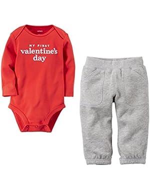 Baby Boys My First Valentine's Day Bodysuit Pant Set