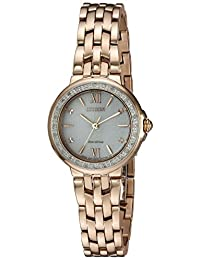 Citizen Women's 'Diamond' Quartz Stainless Steel Casual Watch, Color:Rose Gold-Toned (Model: EM0443-59A)