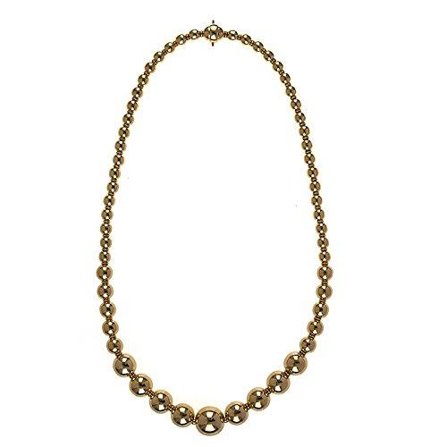 18 Ct Gold High Polish Grad 6 14 mm starkem gelb Fancy links Bead Ball Halskette – Länge Optionen  41 46  46.0 Zentimeter
