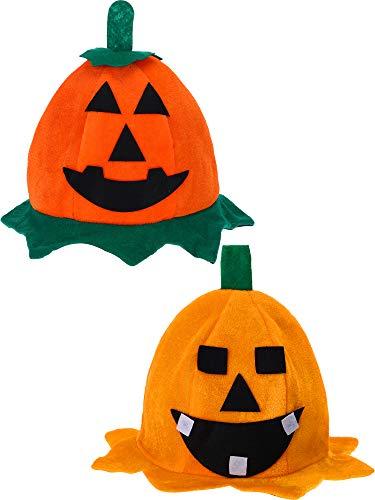 Skylety 2 Pieces Pumpkin Hat Top Orange Lantern Hats for Halloween Costumes Accessory (Style Set 2) -