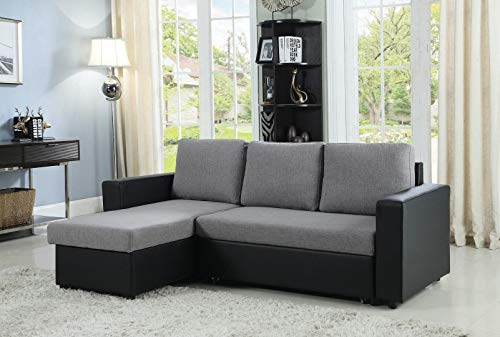 Coaster Home Furnishings Everly Reversible Sleeper Sectional Sofa Grey and Black (Sectional Sleepers Small)