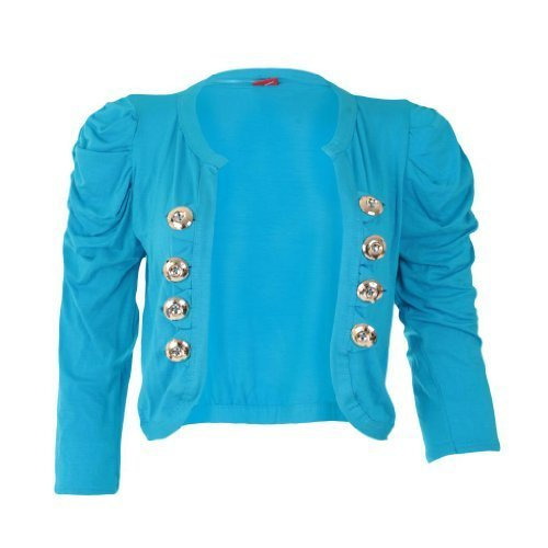 Top donna 8 Donna Bolero lunghe Vintage a nbsp; Cardigan Down Button Coprispalle da Militare maniche OOF7xqg