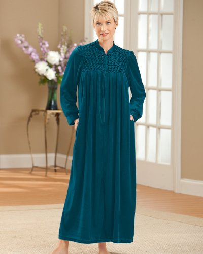 National Women's Long Velour Lounger - Green -