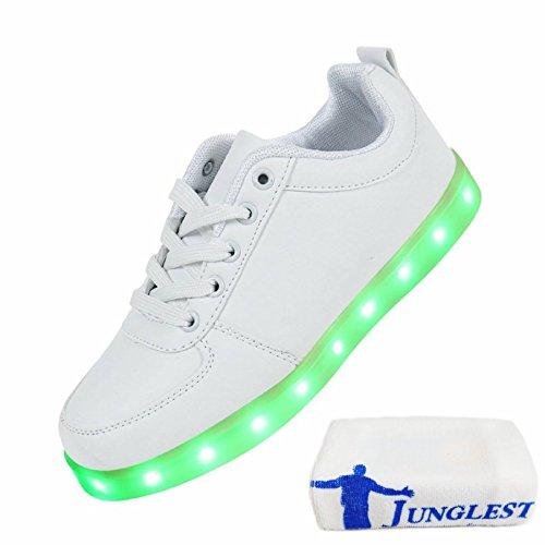 (Present:kleines Handtuch)JUNGLEST 7 Farbe LED Leuchtend Sport Schuhe USB Aufladen Turnschuhe für Unisex Herren Da Weiß