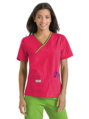 Urbane Essentials 9534 Double Pocket Crossover Top Strawberry/Limeade ()