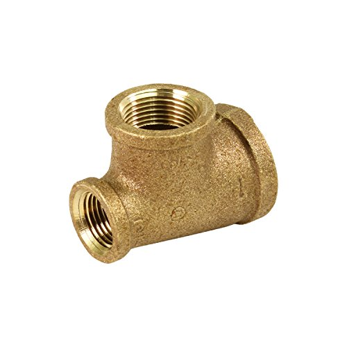 Everflow BRRT1006-NL 1 x 3/4-Inch Lead Free Brass Reducing Tee Two Size with Female Threaded Connections Ends, Brass Construction, Higher Corrosion Resistance Economical & Easy to Install - Brass Threaded Tee