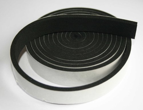 Rubber-Stuff Neoprene Rubber Self Adhesive Strip 50MM Wide X 3MM Thick X 5M Long (Black With Yellow Backing Tape)