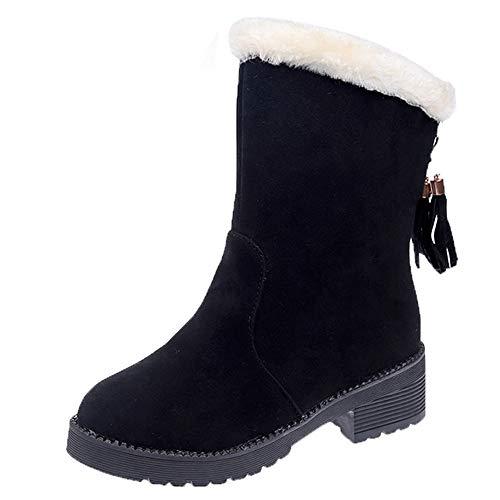 Mysky Winter Women Classic Slip-On Snow Boots Ladies Retro Suede Tassel Round Toe Keep Warm - Boots Winter Men For Rockport