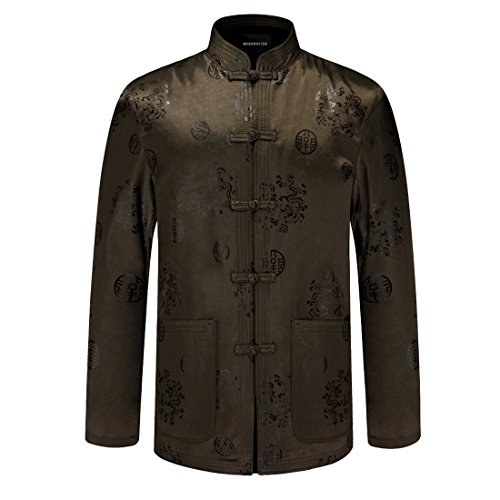 MOSONNYTEE Tang suit Chinese style cotton jacket (X-Large, Bronze/Thick) by mosonnytee