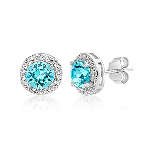 Devin Rose Women's Round Halo Stud Gift Earrings Made With Swarovski Crystals in Sterling Silver (Aquamarine Crystal Imitation March (Swarovski Crystal Twist)