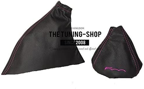 2015/Frein /à main Gear /& Gu/êtres Noir Rose en cuir italien 500/broderie Logo Pour Fiat 500/2007