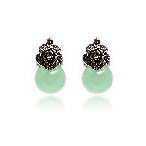 - GEM-inside Earrings Light Green Jade Round Ball Gemstone Beads Cute 12mm Tibetan Silver Fashion Jewelry for Woman
