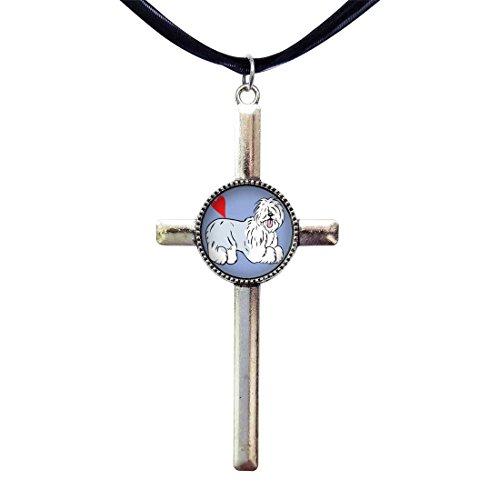 - GiftJewelryShop Old English Sheepdog Animal Retro Style Cross Pendant Charm Necklaces
