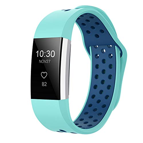 iGK Silicone Replacement Bands Compatible for Fitbit Charge 2, Adjustable Breathable Sport Strap Smartwatch Fitness Wristband with Air Holes Teal Navy Small