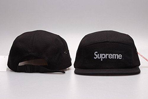Supreme 5 panel black cap  Amazon.co.uk  Clothing a265ecd4b10