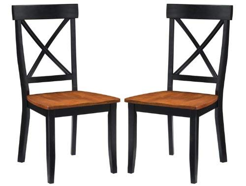 Classic Black/Oak Pair of Dining Chairs by Home ()
