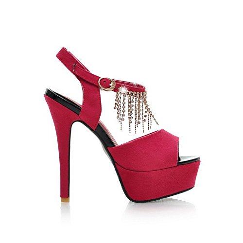 Amoonyfashion Dames Spikes Stilettos Solide Gesp Peep Toe Sandalen Rood