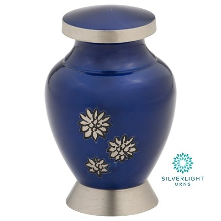 Silverlight Urns Flowers of Peace Keepsake Urn, Mini Small Brass Urn in Blue, 3 Inches High ()