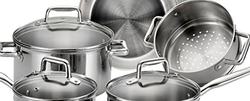 T-fal E469SC Tri-ply Stainless Steel Multi-clad Dishwasher Safe Oven Safe Cookware Set, 12-Piece, Silver by T-fal (Image #3)