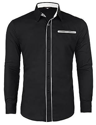 PAUL JONES Men's Casual Inner Contrast Long Sleeves Dress Shirts