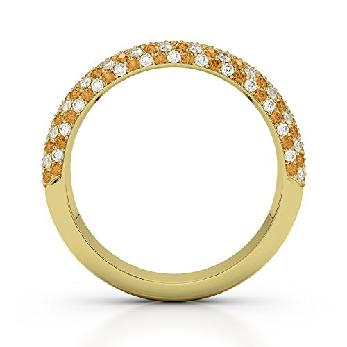 Or jaune 18carats 0.29CT G-H/VS Certifié Coupe ronde Citrine et diamants Agdr-1118