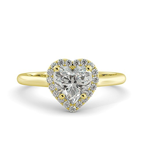 Heart Cut Charles & Colvard Forever Brilliant Moissanite & Round Natural Diamond Halo Solitaire Engagement Ring 14k White Rose Yellow Gold 1.58 tcw