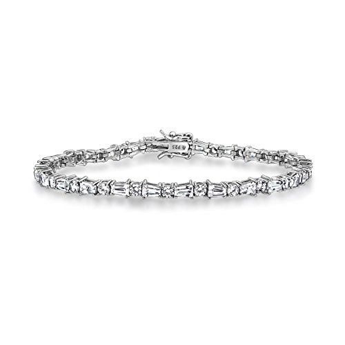 DIAMONBLISS Platinum Plated Sterling Silver 7 ct Round and Baguette Cut Cubic Zirconia Tennis Bracelet, - Silver Sterling Plated Baguette