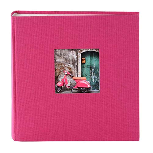 (Goldbuch Photo Album with Cut-Out, Bella Vista, 25 x 25 cm, 60 White Pages with glassine dividers, Linen, Pink, 24898)