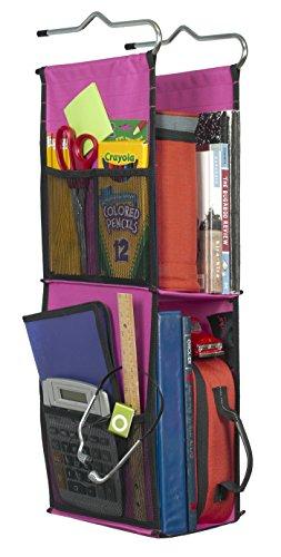 LockerWorks 2 Shelf Hanging Locker Organizer, 22-24 Inches Tall, Side Pockets, Suspends from Hooks, Shelf, or Closet Rod - (Hanging Locker Organizer)