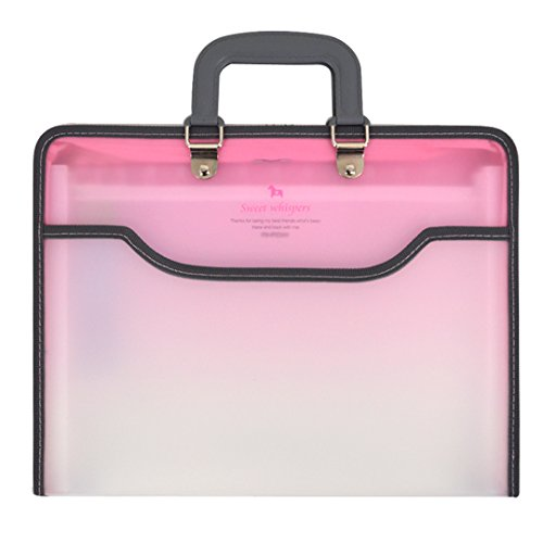 Candy Color Expanding File Portable Accordion Document Folder Organizer Bunisess School Folder Pink (Pink Zipper Portfolio)