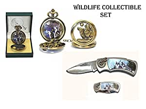Wolf Pocket Watch and 3-D Knife Set (Wildlife Collectible)