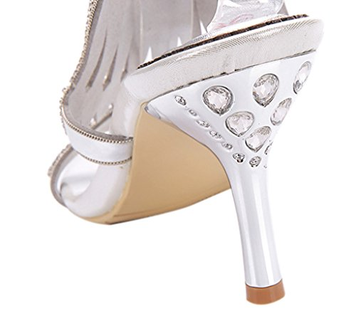 Ankle Heels Party Crystal Women's silver Sparkle Slingback Stiletto Strap 01 pu Sandals Cutouts Dress High zUzqZ8xI