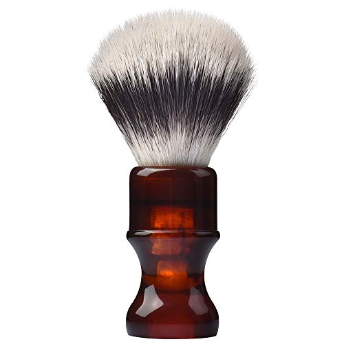 Je&Co Luxury Synthetic Shaving Brush With Aesthetic Resin Handle, 24mm Extra Dense Knot (Brown)