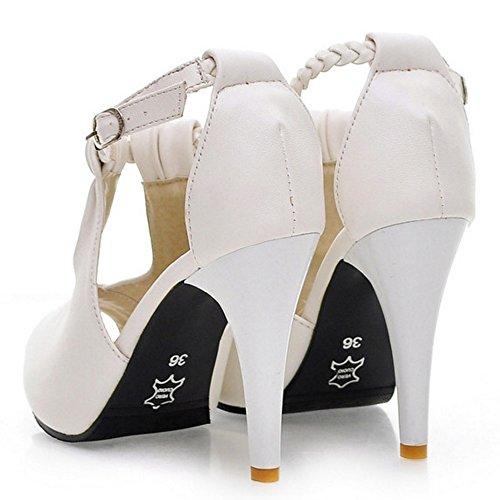 White Schuhe Mode Toe Sandalen Knochelriemchen Stiletto Peep Damen COOLCEPT zOqvU8U