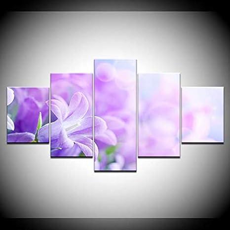 Cuadro sobre Lienzo The Pink Lila Flores 5 Unidades De Fondos De Pantalla Impresión En Lienzo del Arte Moderno Poster Pintura del Arte Modular para La Sala De Estar Decoración para El Hogar