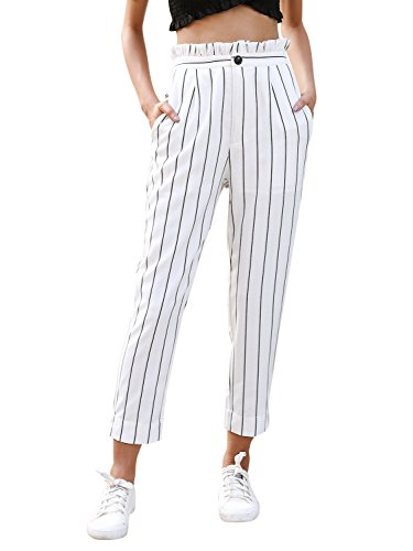 Simplee Apparel Women's Casual High Waisted Stripes Pants with Pockets White US 10