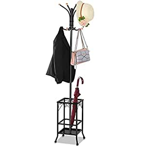 Yaheetech 3 in 1 Metal Coat Hat Rack Tree Bag Stand w/Umbrella Holder with 8 Hooks Sturdy Durable Black