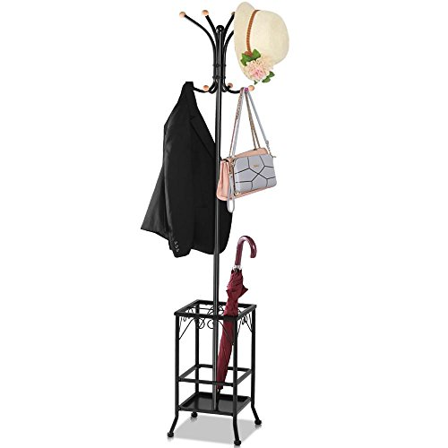 Yaheetech Retro-Style Metal Multi-purpose Coat Stand With Umbrella Storage Area, Black (Coat Tree Umbrella Stand compare prices)