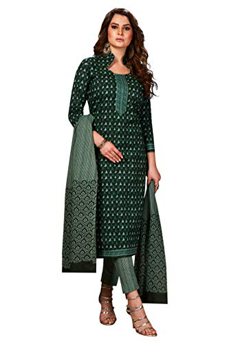 Jevi Prints Women's Unstitched Pure Cotton Green Block Print Dress Material (ZR-2002_Green_Free Size)