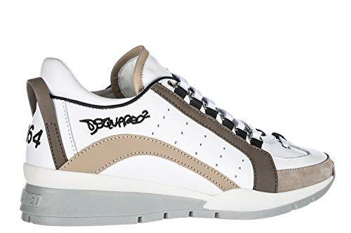 Dsquared2 Chaussures Homme Baskets 551 Blanc Beige Printemps-Été 2018