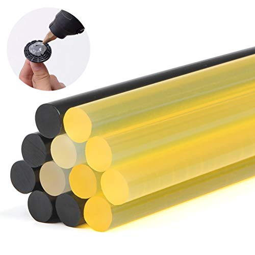 QLOUNI 12Pcs PDR Glue Sticks Hot Glue Sticks Auto Body Paintless Dent Removal Repair Tool Kits 11mm 270mm (2 x Transparent + 5 x Black + 5 x Yellow)