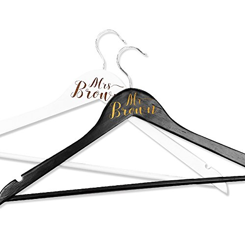 Personalized Wedding Hanger with Last Name Name, Custom Mr. Mrs. Last Name Hanger- Groom Bridal Bride Last Name Hanger, Custom Wedding Hanger, Personalized Wedding Dress Hanger Men Black-Women White