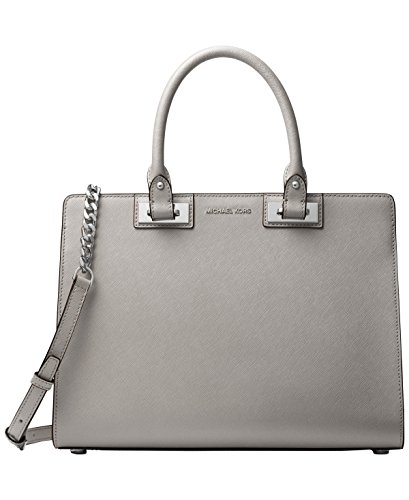 MICHAEL Michael Kors Quinn Large Satchel (Pearl Grey) by Michael Kors