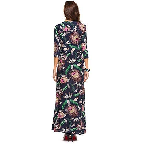 Party Bohemia Dress Beach Sugarwewe Deep Women Drawstring Button for 170 up V Maxi xnRYUTPn