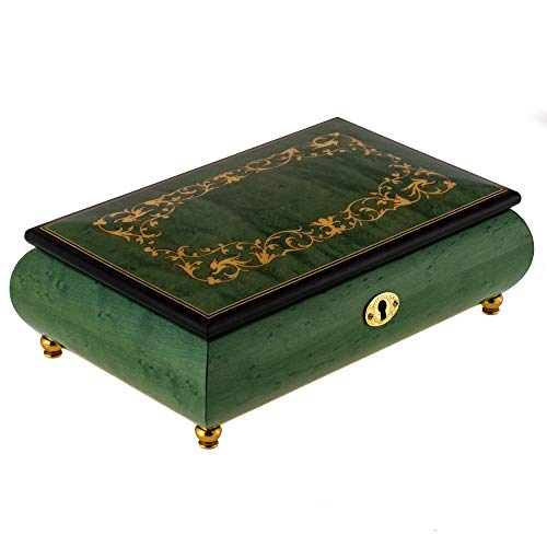 Spring Green Filigree Italian Hand Crafted Inlaid Wood Music Box Plays Nocturne