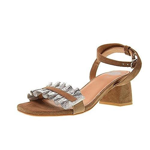 Gioseppo Sandalias Zapatos Tacón 85Off Plata 45301 Bajo Mujer m8wvNn0