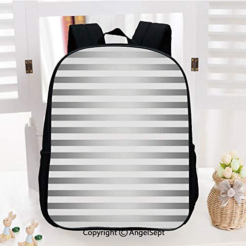 School Backpack,Horizontal Zebra like Striped Motif with Classical Minimalist Effects Display School Bags Student Stylish Book Bag Daypack for Little Boys and Girls,Grey White