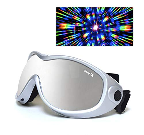 GloFX Padded Diffraction Ski Goggles Rave Rainbow Prism