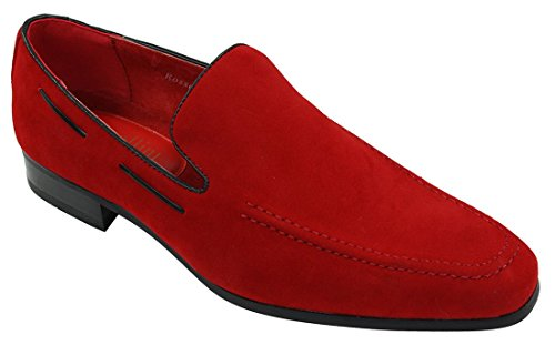 Schuhe Leder eleganten On Rote Velourleder Suede Slip Italienische lässigen Herren Loafer pYq0n